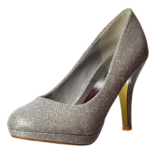 231f4a4d139c Onlineshoe Women s Sparkly Shimmer Glitter - Low Heel Platform Court Shoe -  Gold Mesh