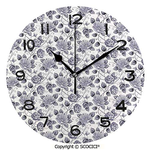 (SCOCICI Round Wall Clock Floral Patterns Victorian Inspired Roses with Dark Flowers in Monochrome Graphic Print Decorative 10 inch Morden Acrylic Mirror Wall Clocks Silent Round Decorative Clock)