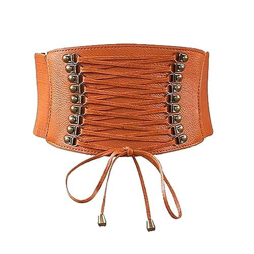 hibote Lace Dress Retro Leather Belt Belt Belt Belt Female
