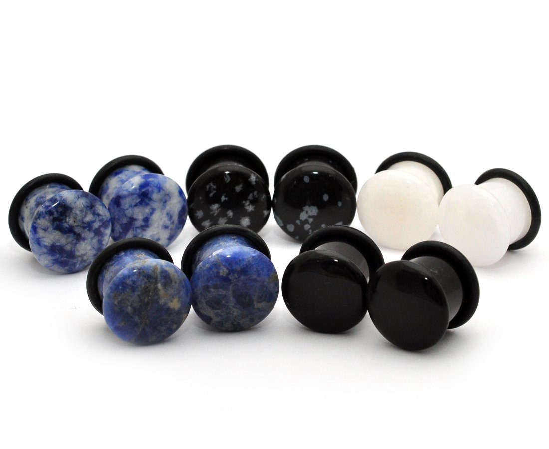 Mystic Metals Body Jewelry Set of 5 Pairs Single Flare Stone Plugs - Black Agate, White Jade, Snowflake Obsidian, Blue Lapis, Sodalite (2g (6mm)) by Mystic Metals Body Jewelry