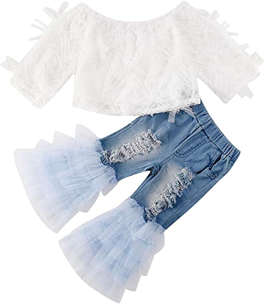 Toddler Baby Girls Long Sleeve Romper Ruffle Two Fabulous Tops Ripped Jeans Denim Pants