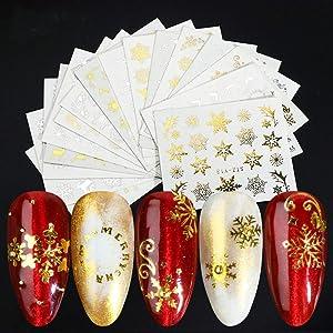 BFY Christmas Nail Art Stickers Nail Decals Supplies Romantic Snow Christmas Flash Nail Decals Nail Art Accessories Acrylic Nail Art Christmas Party Favor Nail Decor(Gold&Silver)