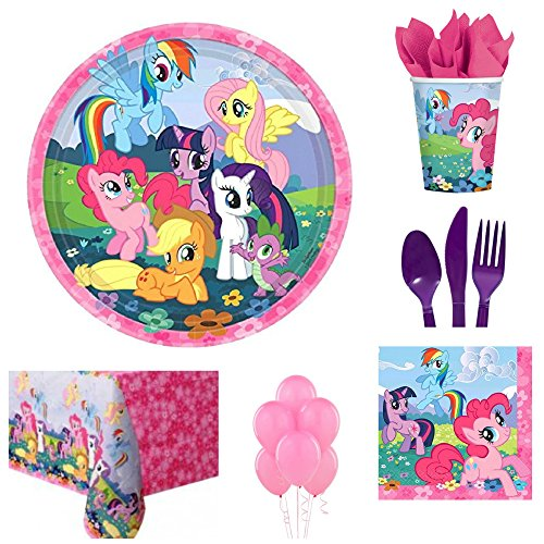 My Little Pony Complete Birthday Party for 16 Includes Lunch Plates Napkins Cups Cutlery Table Cover and Decorations Serves 16