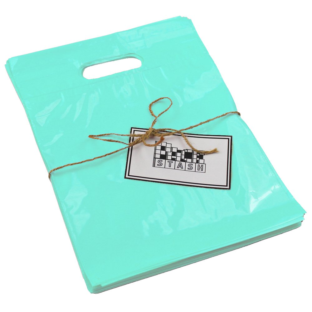 PackStash 9 x 12 (100 QTY) TEAL/TURQUOISE/AQUA Retail Merchandise Plastic Shopping Bags - (SMALL) Premium Tear-Resistant Film, Double Thick Handles, Vibrant Glossy Finish