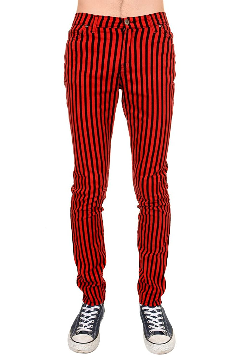 60s – 70s Mens Bell Bottom Jeans, Flares, Disco Pants Run & Fly Mens Indie Vintage Retro 60s 70s Mod Black Red Striped Stretch Skinny Jeans $51.95 AT vintagedancer.com