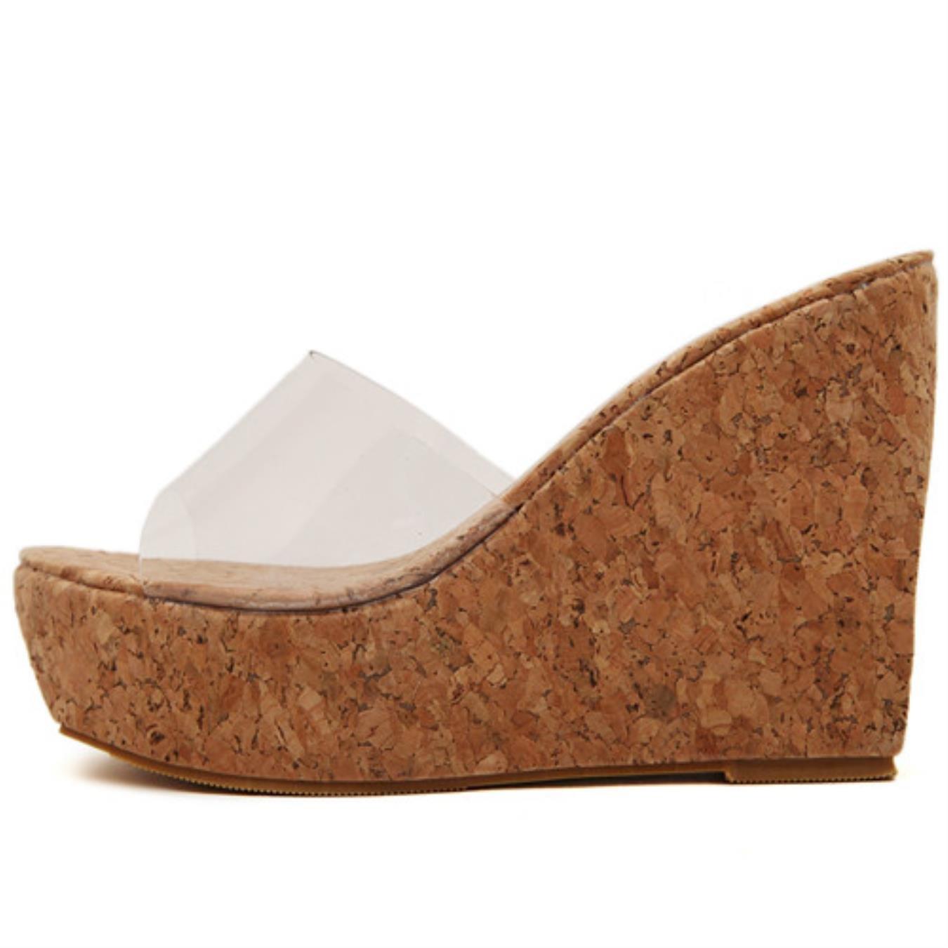 Gdgydh New Summer Transparent Platform Wedges Sandals Women Fashion