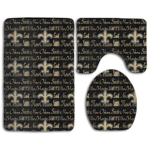 Weckim New Orleans Saints Anti-Skid Lock Water Quick-Dry Bathroom Anti-Skid Three-Piece Set ()