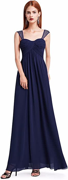6d89f00b42a Ever-Pretty Womens Elegant Long Chiffon Bridesmaid Dress with Corset Back 4  US Navy Blue