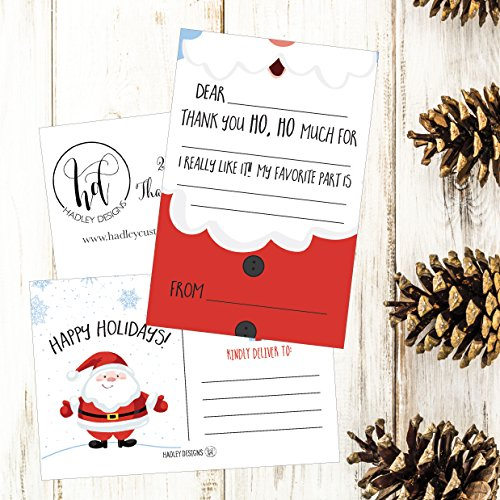 25 Christmas Holiday Kids Thank You Cards, Santa Fill In the Blank Thank You Notes, Personalized Card For Birthday Party or Christmas Gifts, Stationery For Children Boys and Girls Photo #6