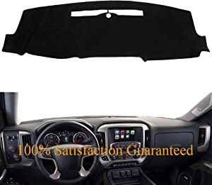 Dash Cover Custom Fit for 2014-2018 Chevy Chevrolet Silverado 1500 / GMC Sierra 1500, 2015-2018 2500 HD/3500 HD, Dashboard Mat Pad no Forward Collision Warning and Speaker Cutting (14-18,Black) Y32