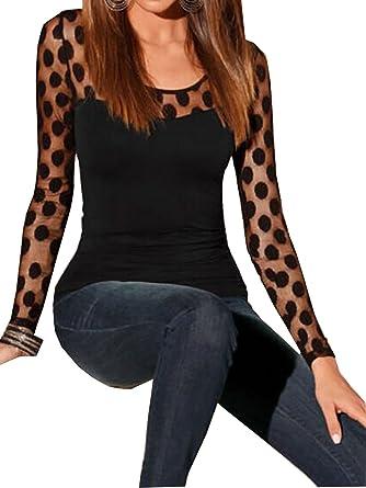 Femme Sexy T-Shirt Dentelle Top Blouse Noir