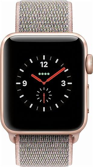 low priced 6c78f b3661 Apple Watch Series 3 38mm Smartwatch (GPS + Cellular, Gold Aluminum Case,  Pink Sand Sport Loop Band) MQJU2LL/A (Renewed)