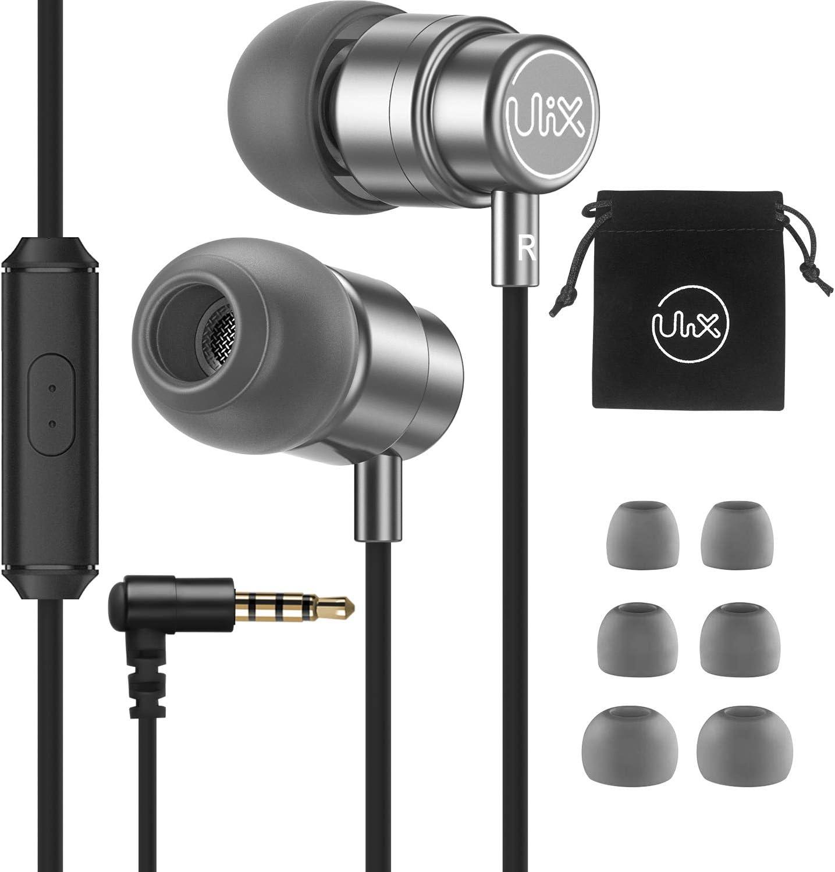 Auriculares-In-Ear-con-Cable-Micrófono, ULIX Rider Auriculares Internos Extrarresistentes, Controlador dinámico de 48 Ω, Audio Claro como el Agua y Graves intensos, Auriculares Ligeros para iPhone