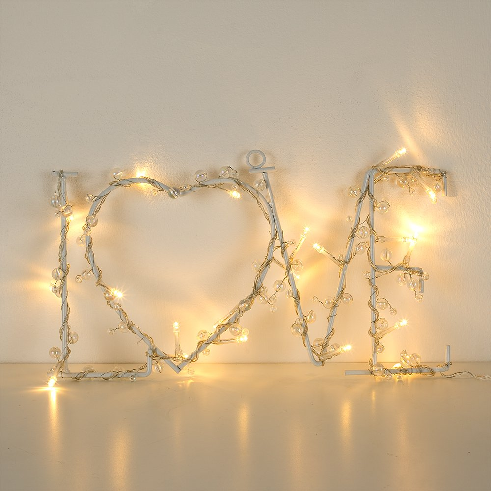 Lovely Warm White 20 LED Battery Operated Beaded Metal LOVE Shaped ...