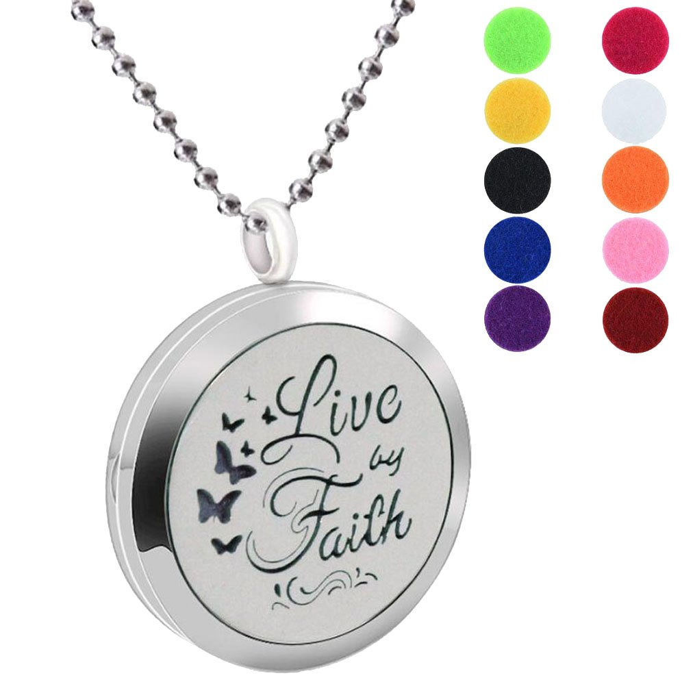 BFF Jewelry Aromatherapy Essential Oil Necklace Diffuser Locket Butterfly Live by Faith Pendant Necklaces