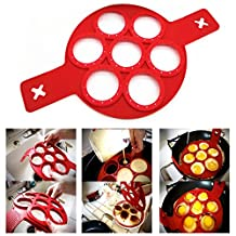 Itian Silicone Pancake Molds, Non Stick Cake Maker Egg Ring For 7 Circles (Red)