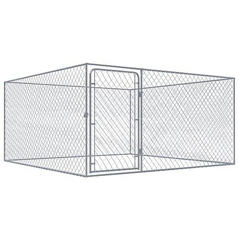 vidaXL Perrera de Exterior de Acero Galvanizado 2x2 m Caseta Mascotas Patio