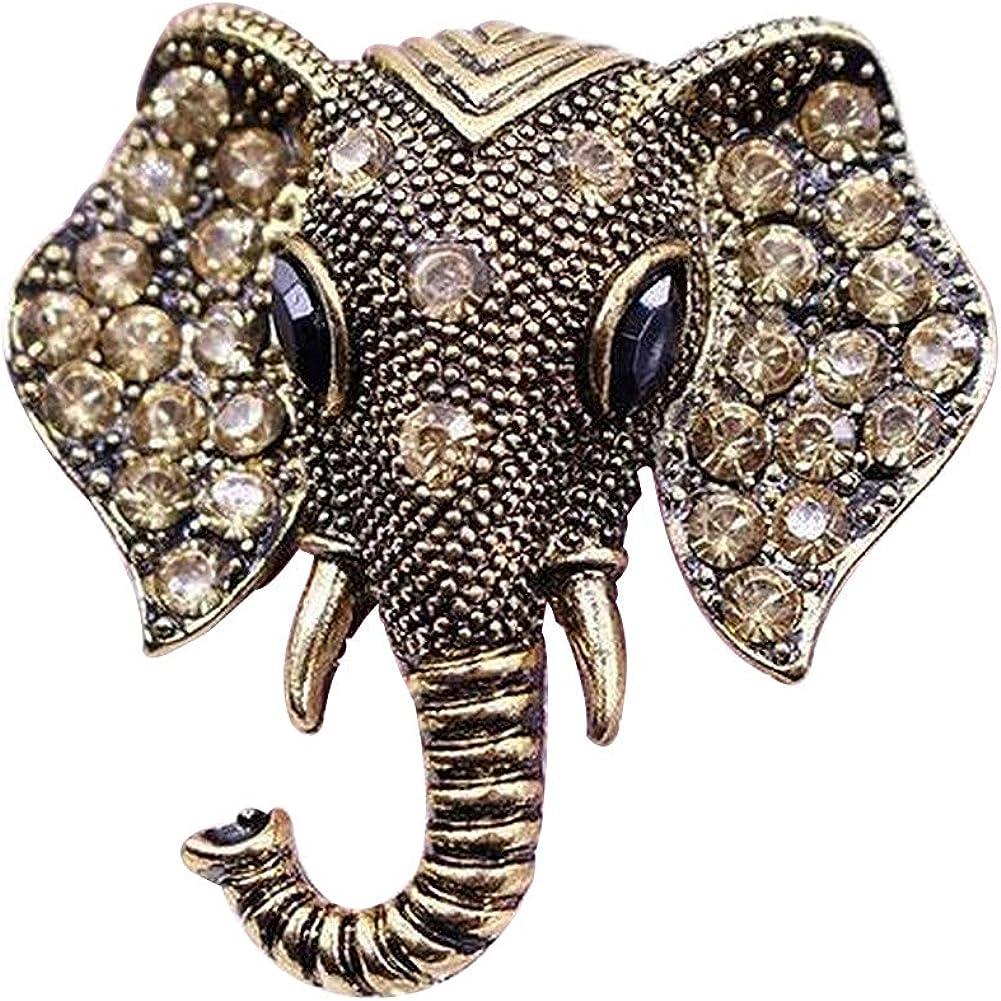 Générique Broche de Cabeza de Elefante de Acero de Bronce Dorado y Cristales de estrás.