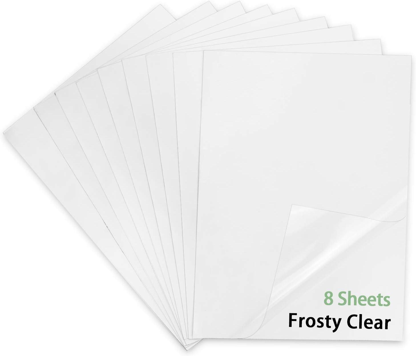 Printable Translucent Vinyl Sticker Paper for Inkjet Printer-8.5 X 11 Waterproof Sticker Paper 8 Sheets