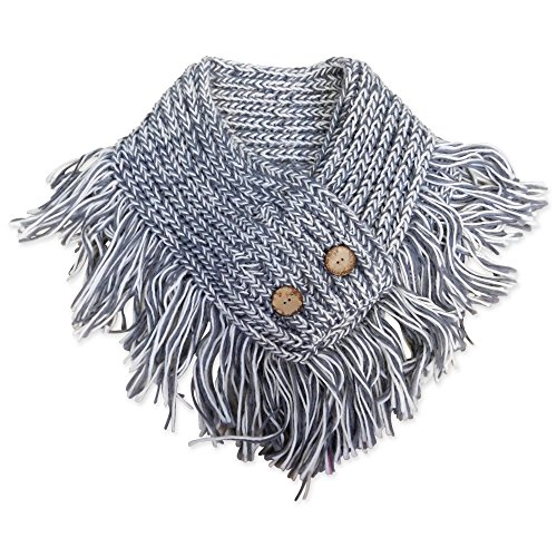 (Tickled Pink Women's Fringed Collar Chunky Wrap, Gray, One Size )