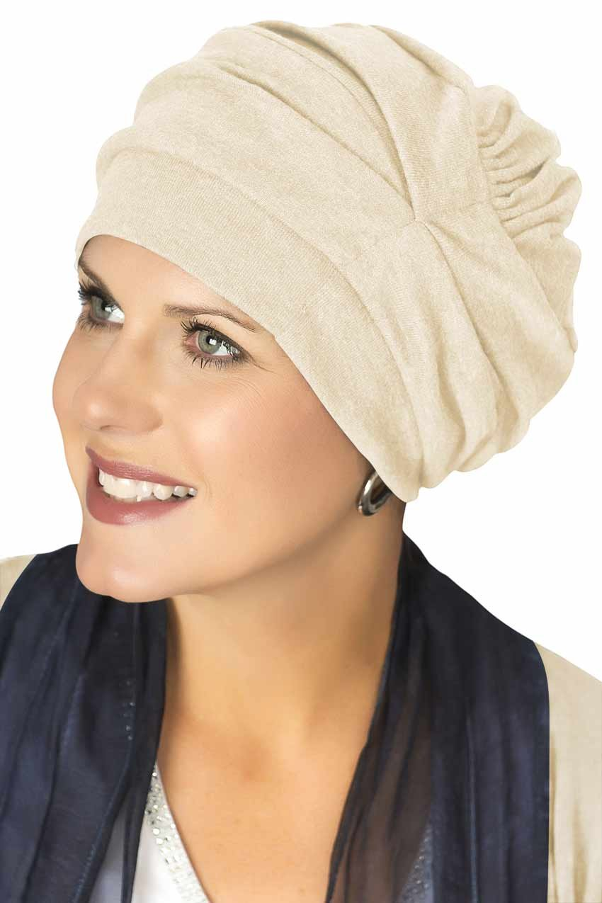 Headcovers Unlimited 100% Cotton Trinity Turban Caps for Women with Chemo Cancer Hair Loss Cream