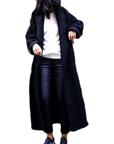 PDFGO Abrigos De Mujer Abrigo De Lana Chaqueta De Lana Abrigo De Lana Sección Larga Gruesa Suelta Rodilla