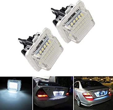 2 Pcs LED License Plate Lamp OEM for Mercedes-Benz W204//W212//W216//W221//W207