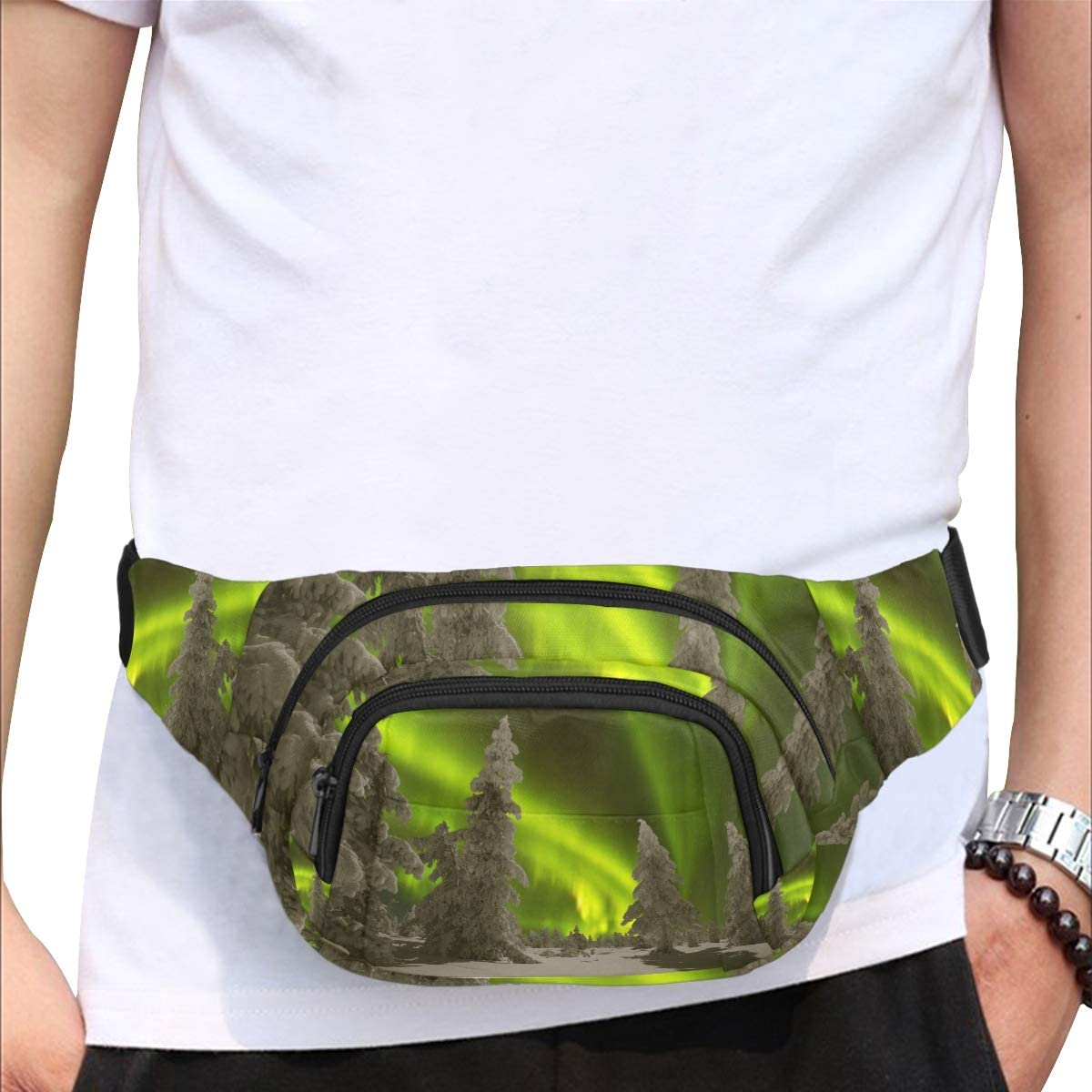 Winter Night With Polar Light Fenny Packs Waist Bags Adjustable Belt Waterproof Nylon Travel Running Sport Vacation Party For Men Women Boys Girls Kids
