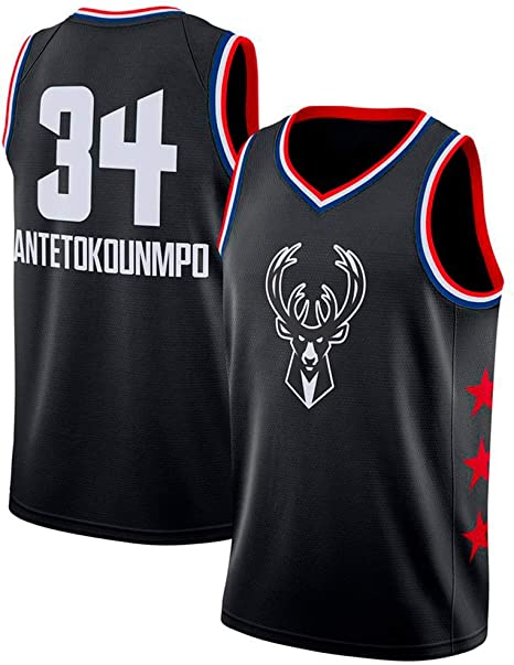Camisa De Básquetbol para Hombre - Jersey Sin Mangas Swing Milwaukee Bucks # 34 Antetokounmpo, Camiseta De Malla Bordada Transpirable,Negro,S165~170cm/55~65KG: Amazon.es: Deportes y aire libre