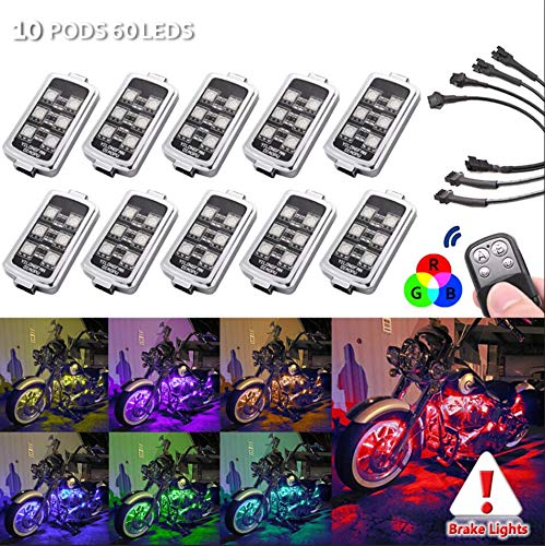 10 PODS Motorcycle LED Accent Glow Neon Light - Multi-Color Ground Effect Atmosphere Lights with Wireless Remote Controller for Harley Honda Kawasaki Suzuki Ducati Polaris KTM BMW (10 PODs-60 LEDs) ()
