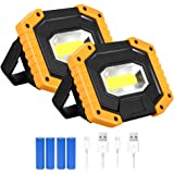 T-SUN 2 Pack COB Portable LED Work Light Rechargeable,2000LM Waterproof Floodlights with USB Outdoor Spotlight for Car Repair