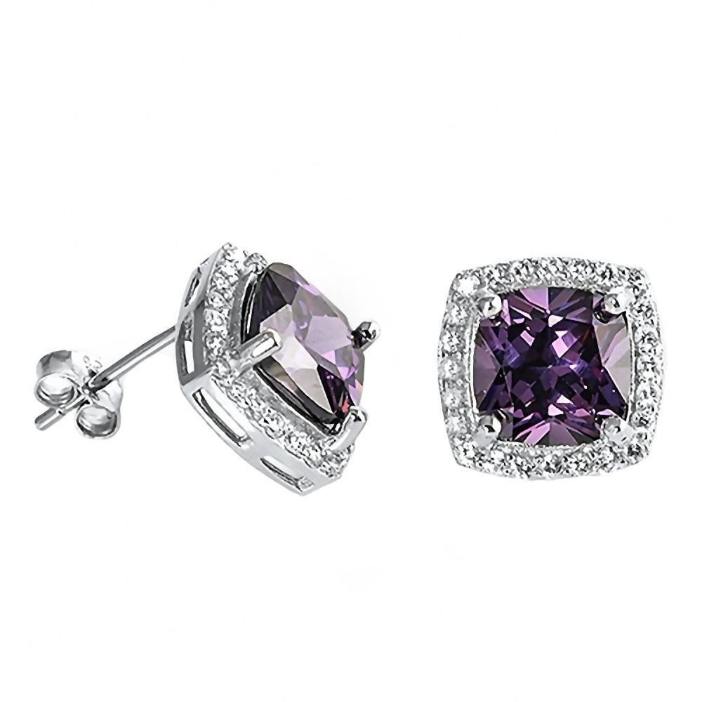 Roanna 0807 Sterling Silver 8mm Cushion cut Simulated Amethyst /& Russian Ice CZ Halo Earrings