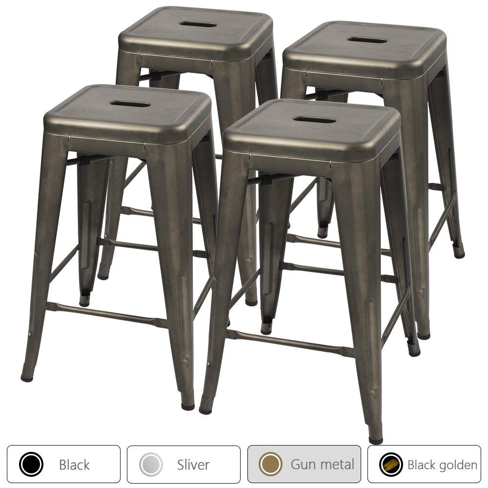 Furmax 24'' Metal Stools High Backless Silver Metal Indoor-Outdoor Counter Height Stackable Bar Stools Gun Metal(Set of 4)