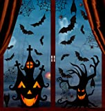 VEYLIN 6Sheets 200Pcs Halloween Window Clings, Double-Side Spooky Removable Window Sticker for Halloween Party…