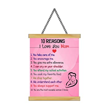 Yaya Cafe Mothers Day Gifts Mom 10 Reasons I Love U Mom Greeting Card Scroll 15x20 Inches Amazon In Toys Games