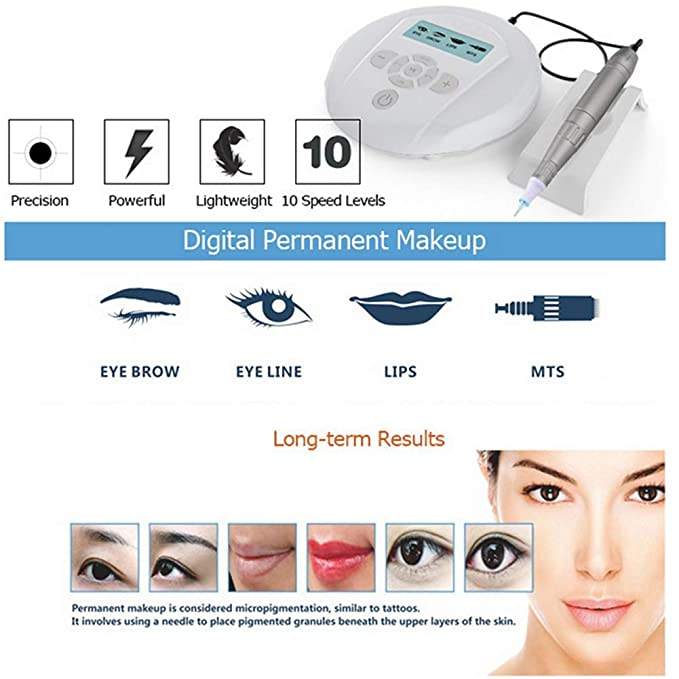 ZSJ Panel Controlar Tatuaje Máquina por Permanente Maquillaje Cejas Labio Tatuaje MTS PMU Sistema Micropigmentación (Pen Kit 10PCS): Amazon.es: Deportes y ...