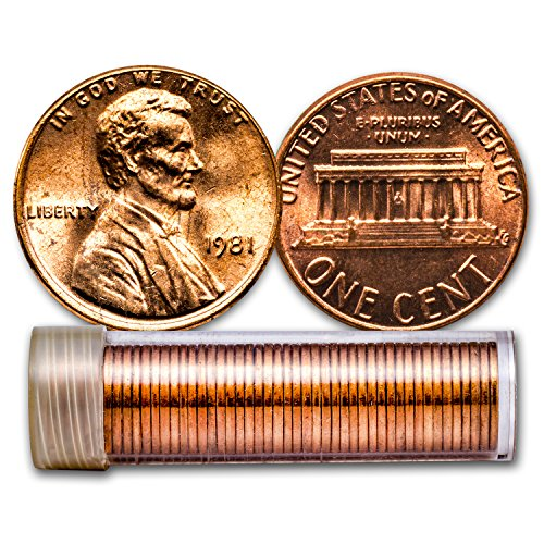 1981 Lincoln Cent 50-Coin Roll BU Cent Brilliant Uncirculated Bu Lincoln Cent Roll