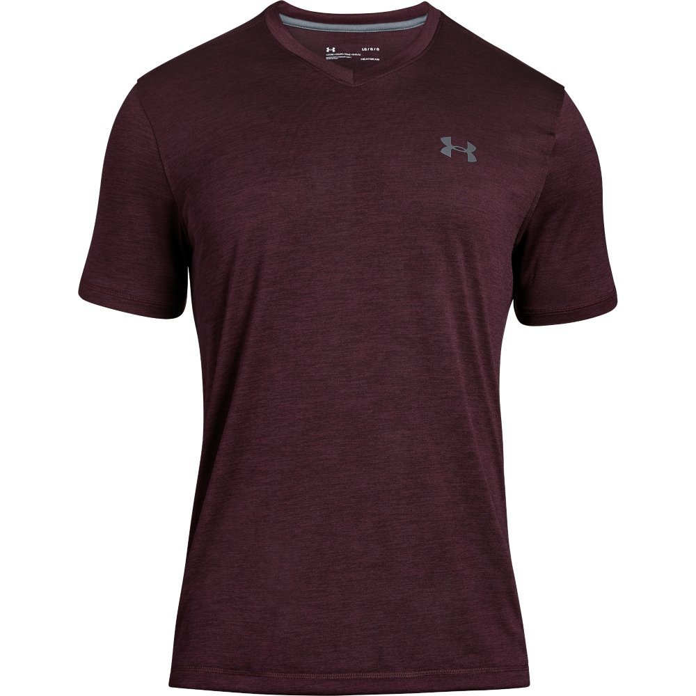Under Armour Men's Tech V-Neck T-Shirt, Dark Maroon (604)/Graphite, X-Large