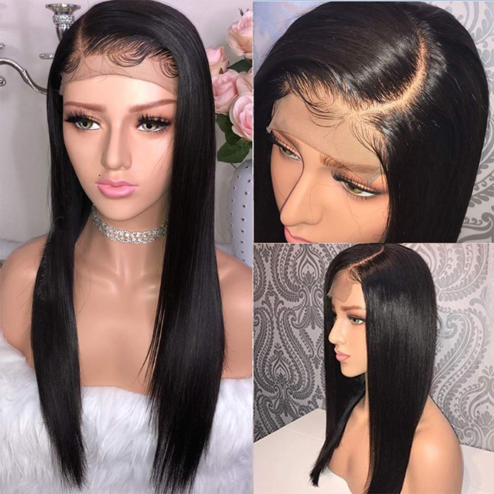 Fureya Hair 8A Unprocessed Brazilian Lace Front Human Hair Pelucas Ponytail Straight 130% Density Lace Wigs with Baby Hair(8 inch,1B): Amazon.es: Belleza