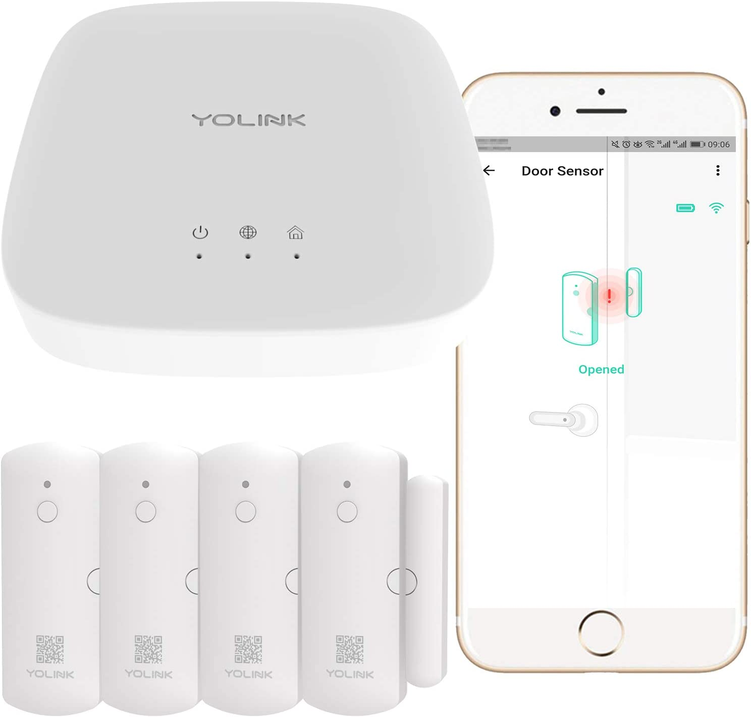 Smart Door Sensors, 1/4 Mile World's Longest Range Wireless Window Door Sensor Work with Alexa IFTTT, Smartphone Monitor APP Alerts Open Reminder Smart Home Security Kit, 4 Packs, YoLink Hub Included