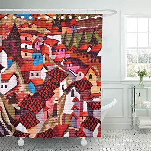 Semtomn Shower Curtain Colorful America South American Village Town Mexican Chilean Brazilian 66
