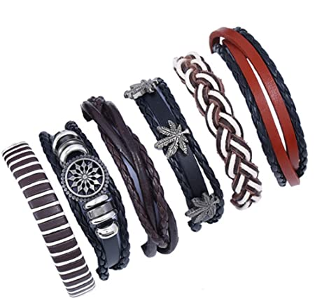 Scrox 6 piezas Personalidad retro tejida pulsera de traje de cuero multicapa, pulsera de hombre, pulsera de mujer
