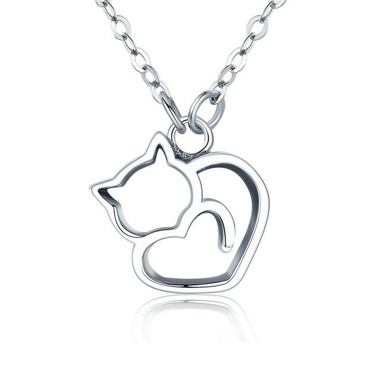 CS-DB Pendants Lovely Cat Exquisite Silver Necklaces