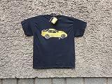 Classic Porsche 944 Sport, Mens Car T-shirt,Original Painting T-shirt, A Black Shirt with Yellow Porsche, Shirt ''Fruit of the Loom'', size L.