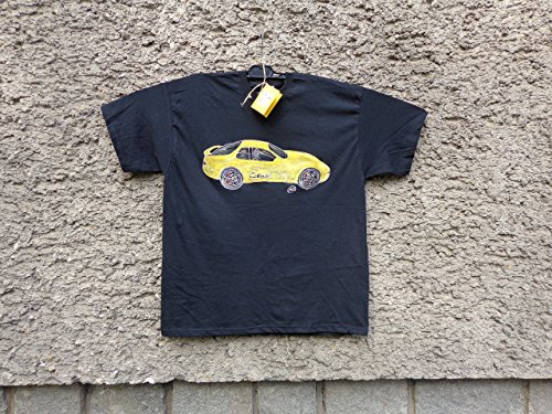 Classic Porsche 944 Sport, Mens Car T-shirt,Original Painting T-shirt, A Black Shirt with Yellow Porsche, Shirt ''Fruit of the Loom'', size L. by Netissimo