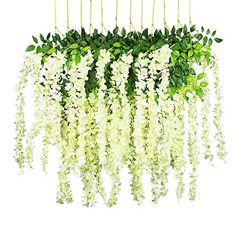 (GPARK 12 Pieces Wisteria Artificial Flower 45 inch Bushy Silk Vine Ratta Hanging Garland Hanging for Wedding Party Garden Outdoor Greenery Office Wall Decoration Milk White)