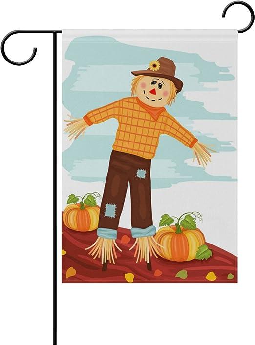 Doble cara Otoño cosecha Cute espantapájaros y calabazas poliéster casa jardín bandera Banner 12 x 18/28 x 40 pulgadas para todo tipo de clima para boda fiesta, poliéster, multicolor, 28x40: Amazon.es: Jardín