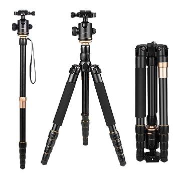 Andoer Q666 Trípode Completo Trípode Reflex Portátil 156cm para DSLR Cámara Canon Sony Nikon, Trípode 2-en-1 Monopod Photocamera Aleación de Aluminio ...
