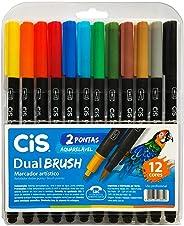 Marcador Artístico Aquarelável Dual Brush, CIS 56.7200, Multicor, Pacote de 12