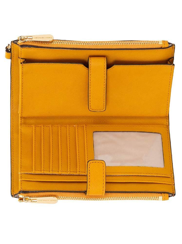 Michael Kors Large Jet Set Travel Phone Case Double Zip Leather Wristlet Wallet in Marigold (Marigold) by Michael Kors (Image #2)